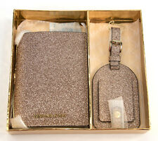 NWT Michael Kors Rose Gold Glittered Leather Bifold Wallet Luggage Tag Boxed Set