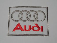 MOTORSPORTS MOTOR RACING SEW ON / IRON ON PATCH:- AUDI (e) WHITE SQUARE RINGS