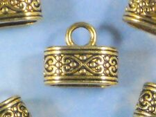 6 Oval Celtic Heart End Caps Antique Gold Tone Kumihimo Glue In On Tips #P1485