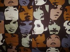 FQ IN CROWD POP ART FACES 1960'S ICONS TWIGGY FABRIC VINTAGE ALEXANDER HENRY