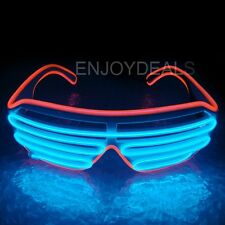Hot El Wire Neon LED Light Up Shutter Shaped Glasses for Costume Party Red+Blue