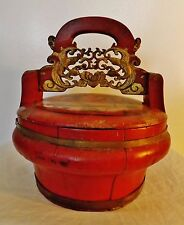 19th c.Chinese hand-painted wooden food basket *Certificate of Antiquity*