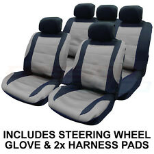14 PCE BLACK/SILVER MESH CAR SEAT COVERS & STEERING WHEEL COVER SET PROTECTORS