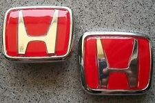 Red Honda Badge Emblem Front & Rear Logo Decal Accord Civic Prelude CRX NEW
