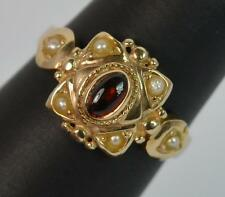 Victorian Design 9ct Gold Garnet Cabochon and Seed Pearl Cluster Ring f0144