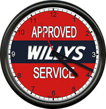 Red Willys Jeep Sales Parts Service Dealer Automobile Retro Car Sign Wall Clock