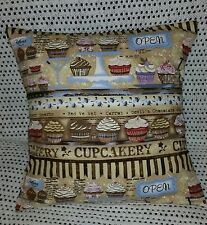 "Cushion cover, vintage style cupcake muffin, cake sweets 16""x16"""