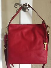 Fossil Maya Hobo ZB6979 Crimson Red Leather Convertible Crossbody