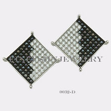 Sterling Silver 925 Square Stud Screwback Earrings with B&W CZ 12.5mm #0032D