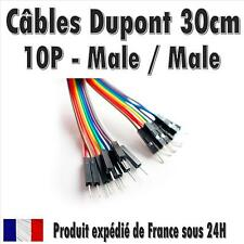 10x Cables Dupont 30cm Male/Male pour BreadBoard Arduino, Raspberry Pi