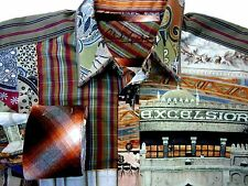 "Robert Graham Men's Size L Large Casual shirt Flip Cuffs ""Excelsior"" Embroidered"