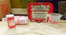 10 PIECE VINTAGE BUDWEISER BEER COLLECTION TRAY MUG STYROFOAM CUP HOLDERS MORE
