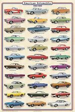 (LAMINATED) AMERICAN AUTOMOBILES CARS 1960-1969 POSTER (91x61cm) WALL CHART NEW