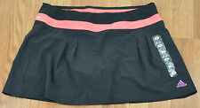 Adidas Skort Womens M Black Coral (Zestred) Climalite Pleated Front NEW 4316