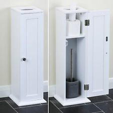 Classic White Bathroom Storage Unit for Toilet Rolls & Brush/Holder Furniture Wc