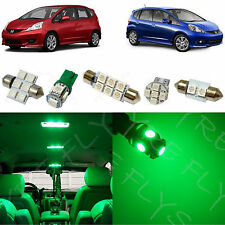 6x Green LED lights interior package kit for 2009-2013 Honda Fit HF1G