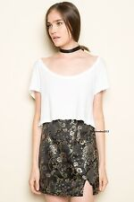 Sold Out! Brandy melville blak silky chinese floral mini moss skirt NWT XS/S