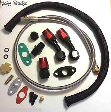 NEW TURBO OIL DRAIN RETURN + FEED LINE T3 T4 T04E T60 T61 T70 COMPLETE KIT BLACK