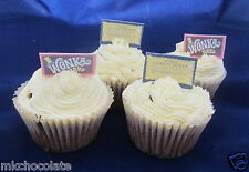24 X STAND UP WILLY WONKA BARS/GOLD TICKETS WAFER/RICE CARD CUP CAKE TOPPER/S A4
