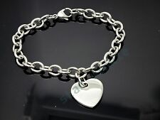 Stainless Steel Silver Tone Love Heart Ladies Women Chain Charm Bracelet 9 inch