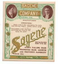 1910 Advertising Label from Bottle of Sagene Hair Restorer Covina CA
