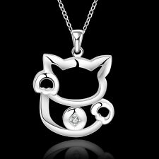 "925 Silver Cute Cat Necklace Pendant with crystal, 18"" long,  ladies Girls gift"