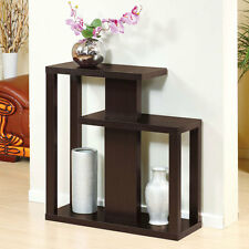 Modern Hallway Unique Design Console Sofa Table Stand Display Shelves Espresso