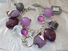 HANDMADE PURPLE ACRYLIC MERMAID CHUNCKY BEAD CHARM WATCH BRACELET 8""