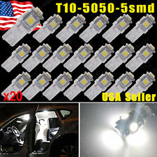 20x Pure White 5 SMD T10 Wedge 168 194 2825 LED Bulb For License Plate Lights