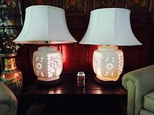 Blanc De Chine Lamps pierced porcelain Hollywood Regency Includes Shades HUGE!!
