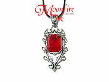 ORNATE GOTHIC VAMPIRE RED CRYSTAL PENDANT NECKLACE SILVER-PLATED INTRICATE