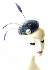 Navy Blue Silver Pheasant Feather Fascinator Pillbox Hair Races Hat Vintage 1835
