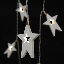 Wooden Star Lights - 12 LED light chain - battery operated