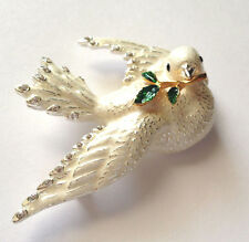 Joan Rivers White Dove Symbol Of Peace Flights of Fantasy Pin Brooch
