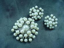 1950s Vintage Gorgeous Genuine Fresh Water Pearls Pin Pendant & Earrings  #1473