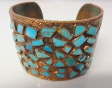 Antique Wide Copper Turquoise Hand Made Modernist Bracelet Cuff Bangle