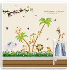 Monkey Wall Stickers Animal Jungle Zoo Nursery Baby Kids Room Decals Art Mural