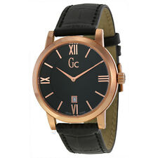 NEW GUESS COLLECTION GC MEN'S WATCH SLIM ROSE GOLD BLACK LEATHER STRAP X60005G2S