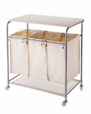 New Laundry Sorter Hamper with Ironing Board and Storage Bags on Wheels Cart