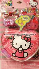 HELLO KITTY by SANRIO 4pc Lip Gloss & Hair Beauty Set COSMETIC BAG+CLIP+RING+