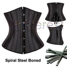 BLACK PUNK WOMEN BONED WAIST TRAINING CORSET OVERBUST LACE UP BUSTIER TOP SHAPER