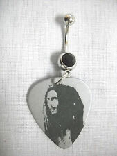 NEW BOB MARLEY SILVER & BLACK PICTURE GUITAR PICK ON BLACK CZ BELLY BUTTON RING