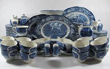 Vintage Liberty Blue Staffordshire Ironstone China Set 115 pieces blue and white