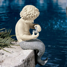 Sea Mermaid Merboy Merman Statue Sculpture Nautical Tropical Decor Mythical Art