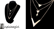 Multi Layer Necklace Gold 3 Layer Chain V Cross Pendant Necklace Long Strip UK