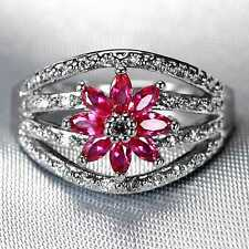 CB20 2.20ct Natural Ruby 2*4mm 14K White solid Gold Ring Size US 8