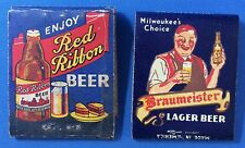 1940s Vintage RED RIBBON BRAUMEISTER BEER Complete Matchbook Racine Mountain Wis