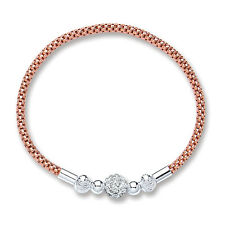 Sterling Silver Rose Gold Plated Mesh Bracelet With Cryst.. Ball