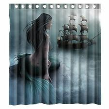 NEW Mermaid Sailing Ship Waterproof Polyester Fabric Bathroom Shower Curtain