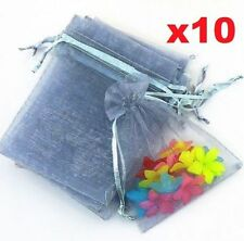 FD5280 Grey Organza Bag Pouch For Jewellery Holidays Wedding X'mas Gift 10PCs✿